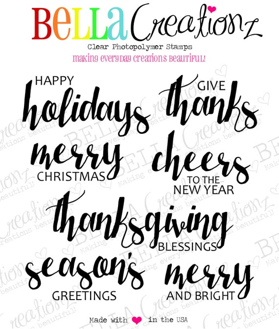 SALE - Holiday Sentiment Stamps - Thanks Stamp Holiday Stamps