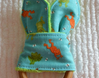 """FROGS Natural Wood Teething Toy w/ cotton and minky """"Bunny Ears"""""""