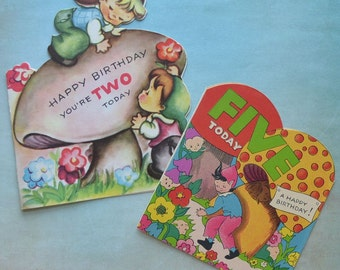 Vintage Elves Mushrooms Birthday Card Lot One Unused