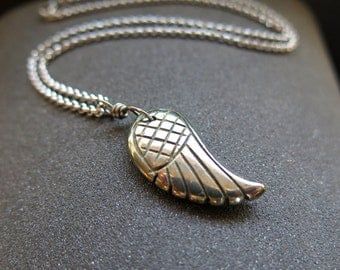 men's necklace. wire wrapped pyrite pendant. wing jewelry. gift for him.