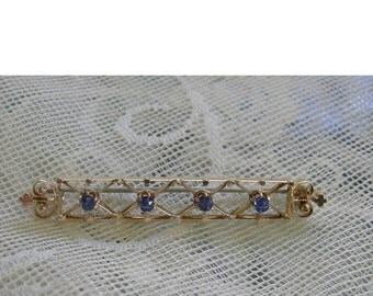 """Antique Victorian 18K Gold And Sapphire Brooch - Victorian Bar Pin - Perfect Bridal """"Something Blue"""" REDuCED"""