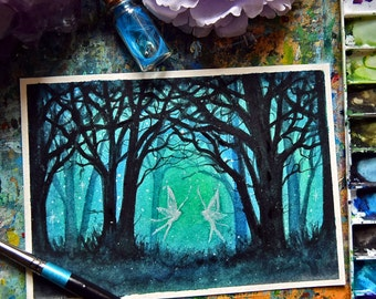 "5 x 7"" original watercolour, Fairy, Magical forest, fairyland,"