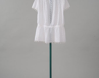 Vintage 1920s White Cotton Dress, Eyelet Lace Children's Dress, Antique 1920s Girls Low Waist Dress, Girls' Clothing, Dresses