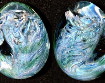 Trippy Blue Moon and Green Stardust Galaxy Egg - Handblown Glass