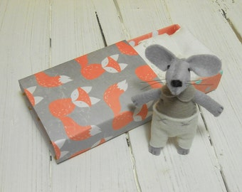 Miniature farm animal little felt mouse plush in matchbox bed fox orange taupe white gift for kids