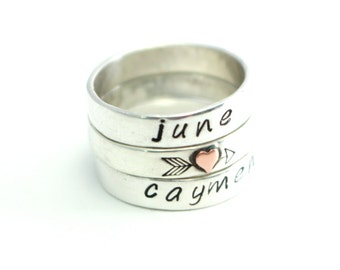 Sweetheart Name Rings, Custom Name Rings, Heart And Arrow Ring, Wedding Rings, Bands, Sterling Silver Bands, Mothers Rings