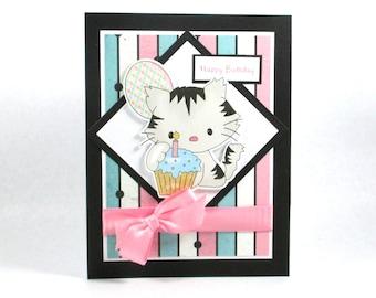 Birthday cards, kitten, kitty cat, cat birthday card, girls birthday cards, kids birthday cards, cupcake birthday, personalized card