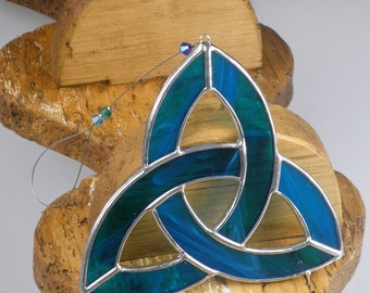 Aqua blue Stained glass Celtic Trinity Knot Suncatcher  & Window ornament