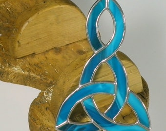 Aqua blue Stained glass Celtic Knot Suncatcher  & Window ornament