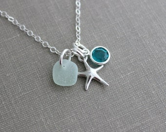 sterling silver starfish Charm necklace with Genuine sea glass - personalized with Swarovski crystal birthstone Summer Beach Jewelry