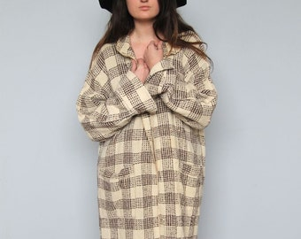 wanderer -- amazing floor-length plaid duster jacket size S/M/L
