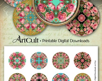 2 inch size Circles, Printable Download ROSES MANDALAS Images Digital Collage Sheet for DIY jewelry, pendants, bezel trays ArtCult design