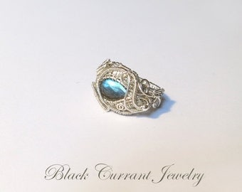Labradorite Size 9 US Sterling Silver Woven Ring - Heady Wirewrapping - ON SALE