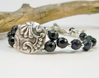 Blue Goldstone Bracelet, Gemstone and Silver Bracelet, Women's Bracelet, Gifts for Her, Blue Bracelet, Women's Jewelry