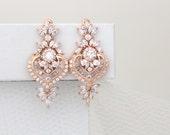 Rose Gold Bridal earrings, Crystal wedding earrings, Wedding jewelry, Rose Gold earrings, Crystal earrings, Art Deco earrings, EMMA