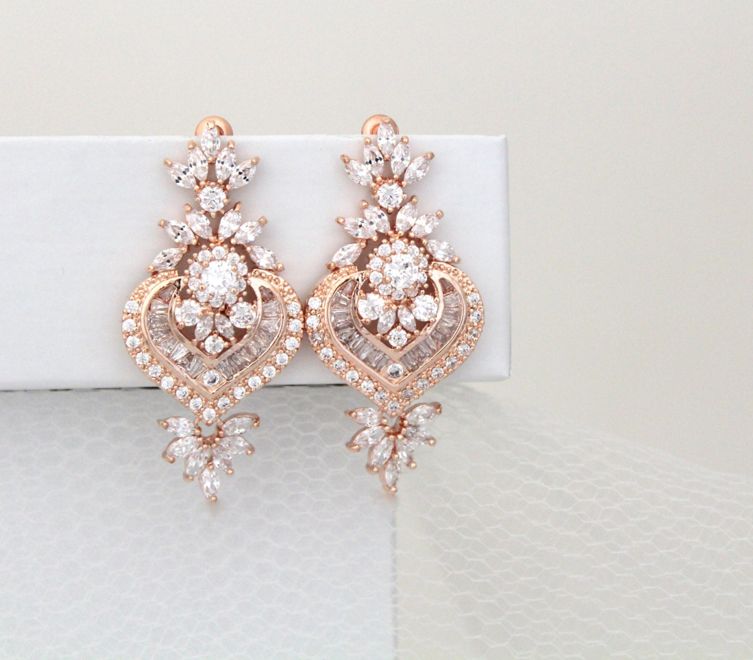 Rose Gold Bridal earrings Crystal wedding earrings Wedding