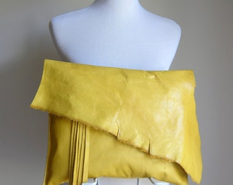 LEATHER Large Oversized Huge Clutch Bag Purse Shoulder Strap Cross Body - Raw, Rustic with Raw Edge & Fringe - Slouchy Yellow Leather