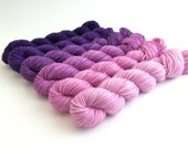 Hand-dyed Merino Sport Gradient Set - approx 360 yds - PANSY