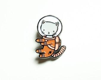 Orange Space Kitty enamel pin - for all cat loving adventurers