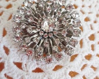 Vintage Rhinestone Brooch Starburst Clear Silver Pin Retro Regency Jewelry