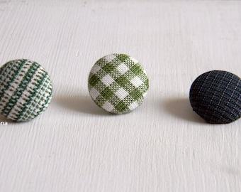 Lapel pin. Mens lapel button. Round boutonniere. Moss green, dark green. Geometric buttonhole.