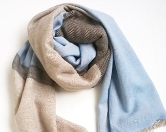 Handwoven Cashmere Merino Silk Scarf in Beige Chocolate Brown and Sky Blue