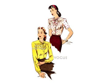 1940s Blouse Pattern Vogue 5020, Yoke Front, Collarless Tie Neck, Long or Short Sleeve Bow Blouse, Uncut Vintage Easy Sewing Pattern