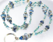 Blue, Teal and Gold Crystal Beaded Lanyard, ID Badge Holder, ID Necklace, Badge Clip Necklace