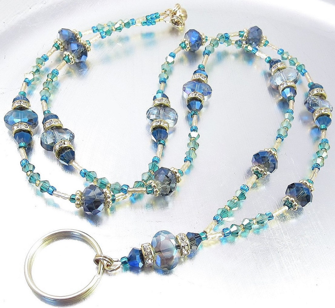 blue teal and gold beaded lanyard id badge holder
