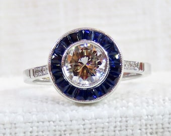 Art Deco Style 14k Gold Diamond and Blue Sapphire Halo Engagement Ring 1.27 Carats GIA Certified Diamond