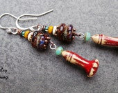 Boho Chic Gypsy Dangle Glass and Polymer Earrings, Colorful Swingy Flower Pod Design Earrings with Lampwork and Czech Glass