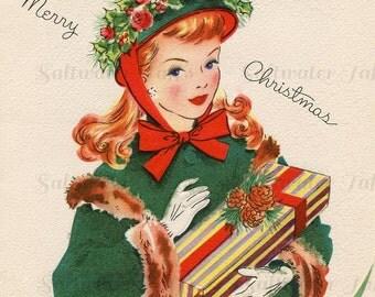 1940s Christmas Girl With Present Image Digital Download vintage holiday xmas christmas card stripe red green fashion DIY card image