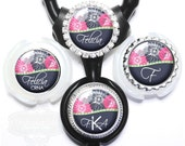 Flower Stethoscope ID Tag - Personalized Navy and Pink Floral Littmann Identification with Name, Monogram, Occupation Title (A101)