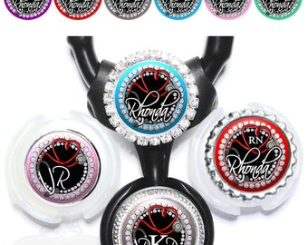 Nurse Littmann Stethoscope Tag - Personalized Heart Stethoscope ID in 6 Colors with Name, Monogram, Occupation Title (A362)