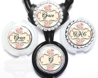 Stethoscope ID Tag - Personalized Pink and Cream Floral Littmann Nurse Identification with Name, Monogram, Occupation (A384)
