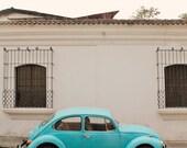 Slug bug blue, Volkswagen bug, Volkswagon, vintage road trip, VW, automobile art, unique car art, whimsical, blue car, fine art photograph