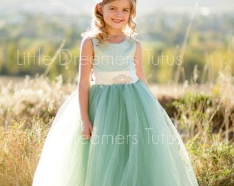 NEW! The Juliet Dress in Sage Green with Rhinestone Brooch - Flower Girl Dress