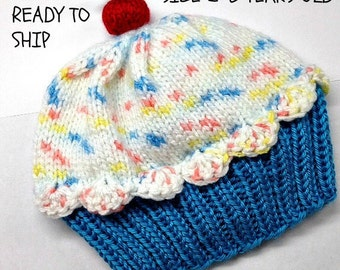 Cupcake Hat Child - Cherry on Top Blue Raspberry Cake with White Sprinkle Frosting 2 3 4 5 6 years old READY TO SHIP
