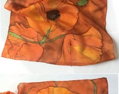 Tangerine Poppies Silk Scarf/ Hand painted scarf shawl/ Burnt Orange long fashion scarf/ Hand made scarf/ Floral scarf Christmas gift mom