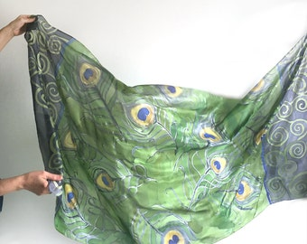 Peacock feathers shawl in green and lavender/ Hand painted silk scarf/ Unique handmade scarves/ Spring scarf/ Green purple shawl