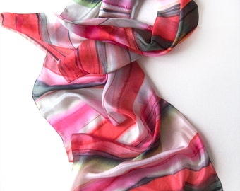 Cherry Striped Silk Scarf/ HAnd painted silk scarf/ Woman fashion scarf/ Holidays gift for her/ Pink and Red scarf handpainted Habotai scarf