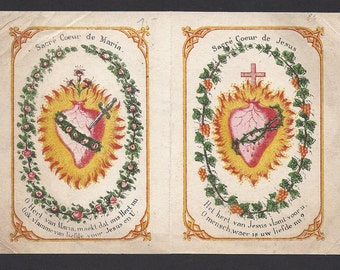170 Year Old Antique Sacred Heart of Jesus & Immaculate Heart of Mary Old Beautiful Dutch Holy Card.