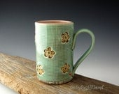 Pottery Mug with Old Hawaiian Style in Mint and Pink - Coffee Mug - by DirtKicker Pottery