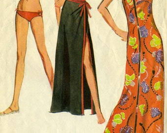 Vintage 70s McCalls 2839 Bikini Swimsuit, Wrap Skirt Coverup and Wrap Neck Halter Dress Sewing Pattern Size 10 Bust 32.5