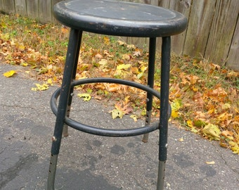 Vintage Metal Stool - adjustable height