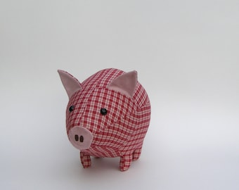 Mama pig - red and beige plaid cotton fabric with safety eyes -  gifts for children - gifts under 50 - Valentine's day gift