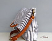 Summer Tote Bag in Vintage Style Cotton Ticking, Navy Blue Vintage Style Cotton Ticking Foldover Bag, Convertible Tote, Womens Summer Purse