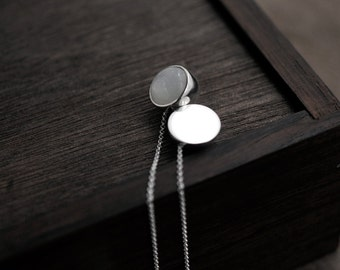 White Moonstone solid silver ball long necklace