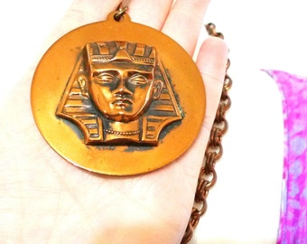Vintage Sphinx Medallion Chunky Copper Chain Necklace / Gothic Jewelry Egyptiania Statement Bas Relief Sculptural Cleopatra