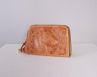 Vintage 60s LEATHER PURSE / 1960s UNUSED  Large Tooled Raised Horse Western Shoulder Bag